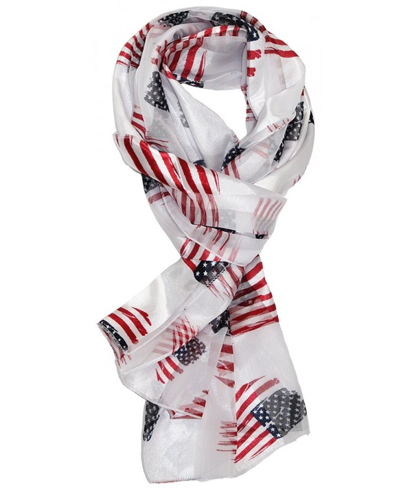 Ted and Jack - Stars & Stripes Americana Print Silk Feel Scarf - White With Flags - CM1829UN30K