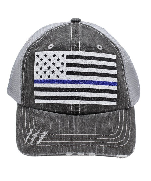 Thin Blue Line American Flag Police Wife Mom Women Glittering Distressed Trucker Style Cap Hat - CG17Z4L4EU5