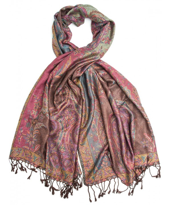 Amrita Scarf- Pashmina Indian Paisley Traditional Jacquard Shawl - Burgundy/Brown - CG188US7QWW