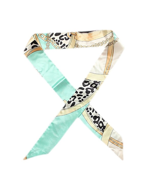 IvyFlair Small Multi Color Chain & Belt Print Skinny Ribbon Neck Tie Scarf - Mint - CZ12O7MVC0D