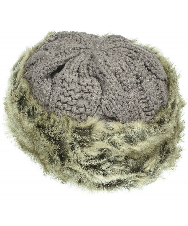 Hand By Hand Aprileo Women's Knitted Hat Faux Fur Lined Trim Cable Winter Beanie - Gray - CS12N117B1X