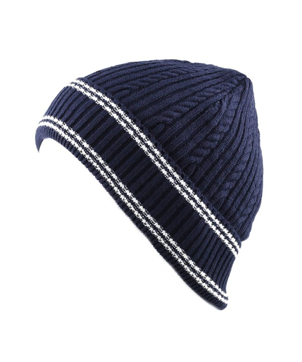 THE HAT DEPOT 200h Unisex Light Weight Chunky Cable Knit Beanie Hat - Navy White - CG126Z968D9