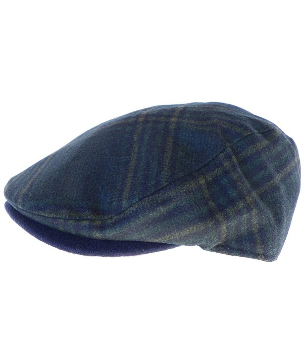 Broner Wool Blend Dark Navy Plaid Ivy Cap Driver Newsboy Scally Irish Hat - Dark Navy - CX188RZDX0C