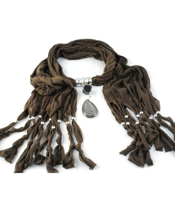 Huan Xun Women's Large Drop Pendant Jewelry Necklace Scarf - F Brown - CF1199UJLCH