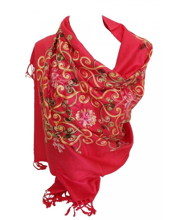 Premium Lush Embroidered Pashmina Feel Scarves Shawl Stole Wrap Head Scarf - Pink - CQ12O0T3Z25