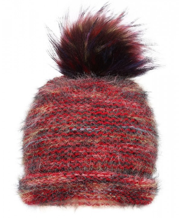 Women's Ultra-Soft Faux Fur Pompom Multicolor Knit Winter Beanie - Mix Burgundy - CS188U6G5ET