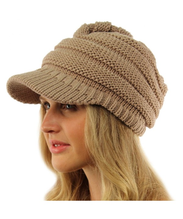 Unisex Winter Thick Chunky Stretch Knit Beanie Skully Visor Jeep Hat Cap - Taupe - CW11NBLDV5N