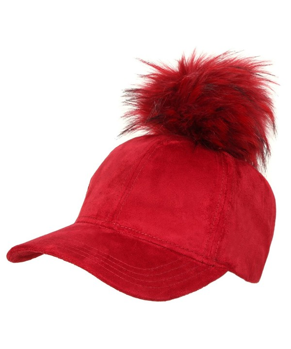 Funky Junque's Women's 6 Panel Large Faux Fur Pom Pom Suede Baseball Velcro Cap - Burgundy - CF12MALYOCO