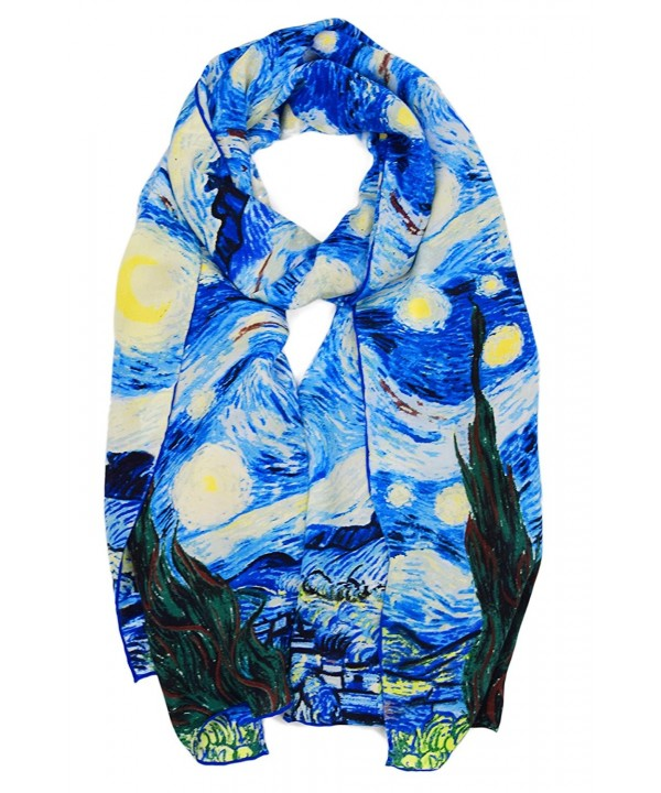 ELEGNA Women 100% Silk Art Collection Scarves Long Shawl Hand Rolled Edge - Van Gogh's Light Starry Night - C61887N8ALU