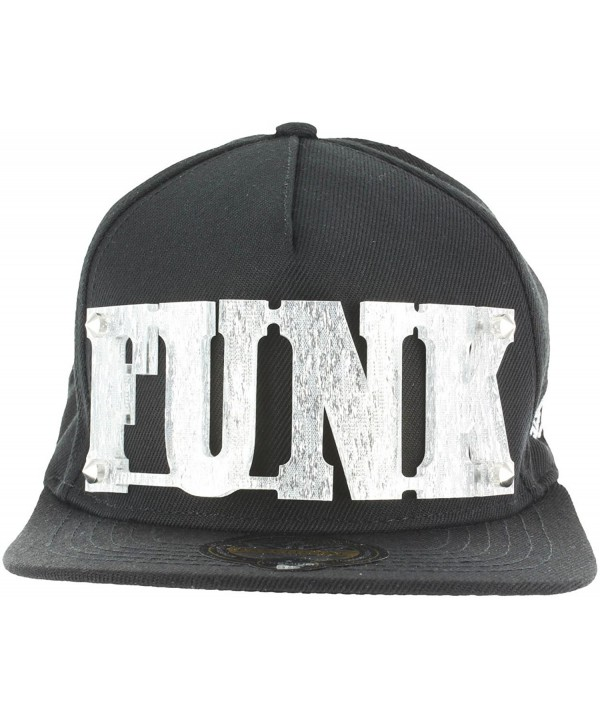 Snapback 3D Letters Rivet BLING COLLECTION - Plate Hip-Hop Hat Plaque Baseball Cap - Funk.black Silver - CN12N4136IH