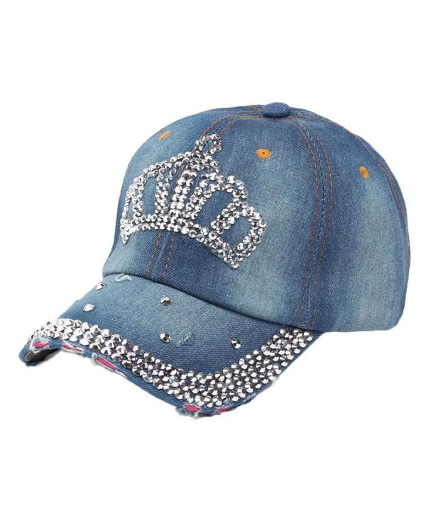 Caps-Elaco Vintage Women Diamond Jean Hat Denim Baseball Flat Cap (B) - C112NRKG6JD