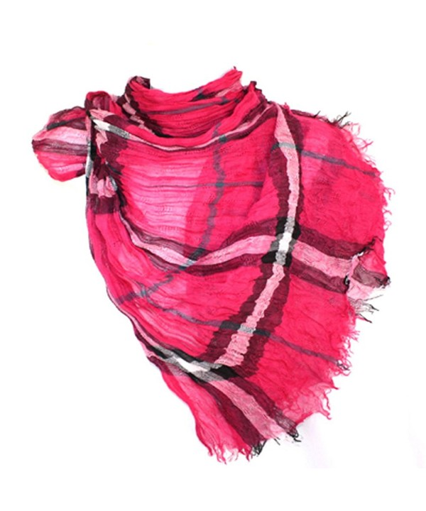 Long Preppy Style Checkerboard Plaid Print Soft Light Cotton Blend Scarf - Pink - CR118LQ2ASV
