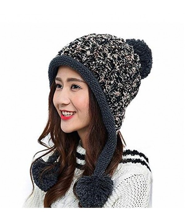 Bhwin Women Winter Soft Knitted Beanie Hat Ski Ear Flaps Caps For Girls Warm Hats - Black - CX189T42DN5
