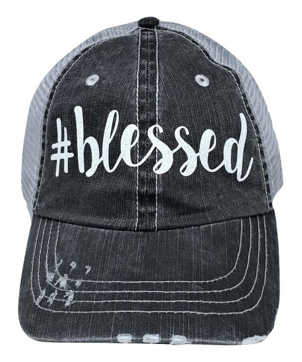 Loaded Lids Women's Blessed Distressed Bling Baseball Cap - Grey/White - CR12NAI5SKT