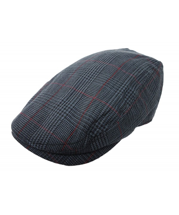 Plaid Pattern Ivy Driver Hunting Flat Newsboy Hat Charcoal - CN11JMI7XK3