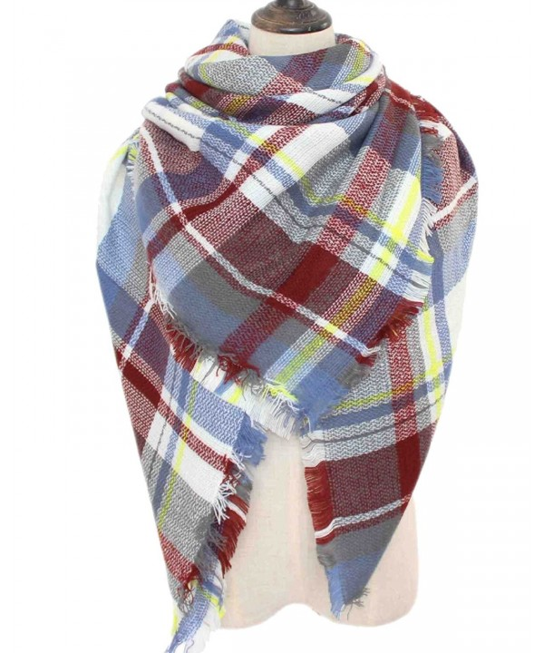 Waprincess Tartan Scarf for Women Winter Plaid Blanket Checked Scarves Wraps Shawl Gift - Plaids 17 - CR12O2N7TR0