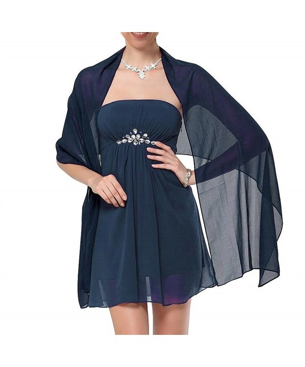Nafusen Womens Chiffon Soft Wrap Scarf Shawl for Bridal Evening - Navy Blue - CV186XDXOKZ