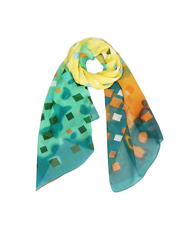 Women's Light and Bright Grid Design Scarf and Shawl - Blue / Yellow / Green - CU12N5KRXNJ