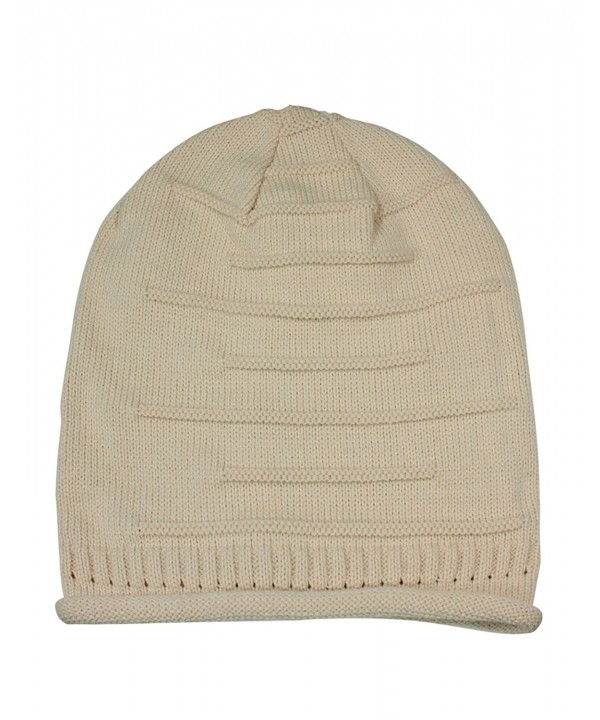 Dahlia Men's Acrylic Solid Color Cable or Dual Layer Weave Pattern Beanie Hat - Slouch - Tan - CT110UFFFMF