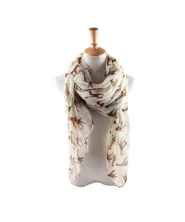 ctshow giraffe Print Voile Print Scarf Fashionable Women Scarves shawl - Beige - CS182AA89RY