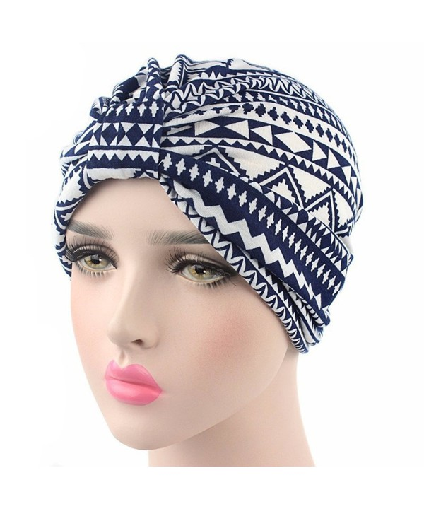 beauty YFJH 2 Pack Printed Soft Pre Tied Cotton India Chemo Cap Beanie Turban Headwear For Cancer - Navy Blue - CI184TZT8YQ