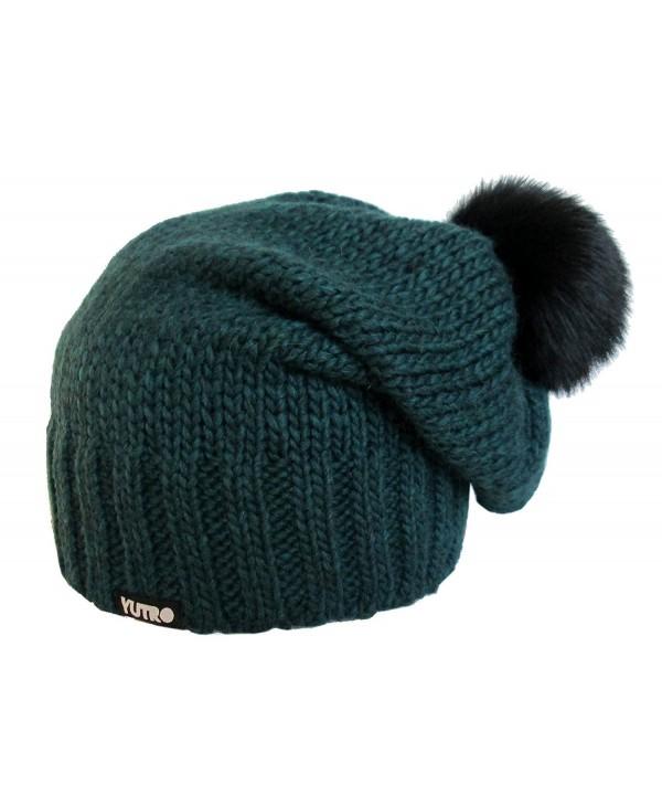YUTRO Women's Wool Slouchy Fleece Lined Winter Beanie Hat with Rabbit Pom - Blue - CJ11QYGICFL