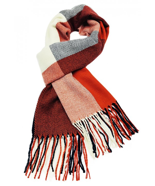 Finoceans Cashmere Feel Scarf Women Winter Scarves Warm Solid Plaid Shawl - Red Blue - CN187EEO3G0