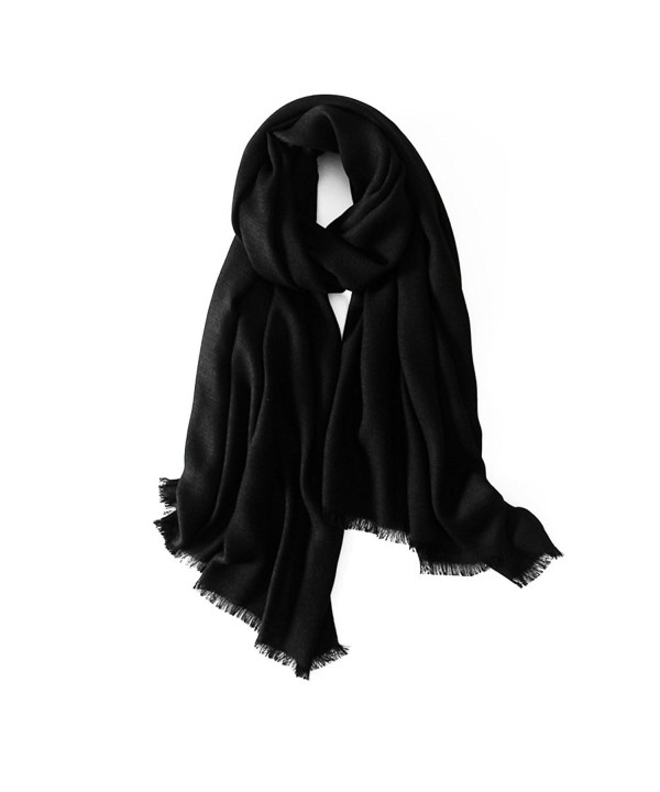 CosyZanx Women Lightweight Scarf Soft Fashion Cotton Wrap in Solid Colors - Black - CH186DSEAL0