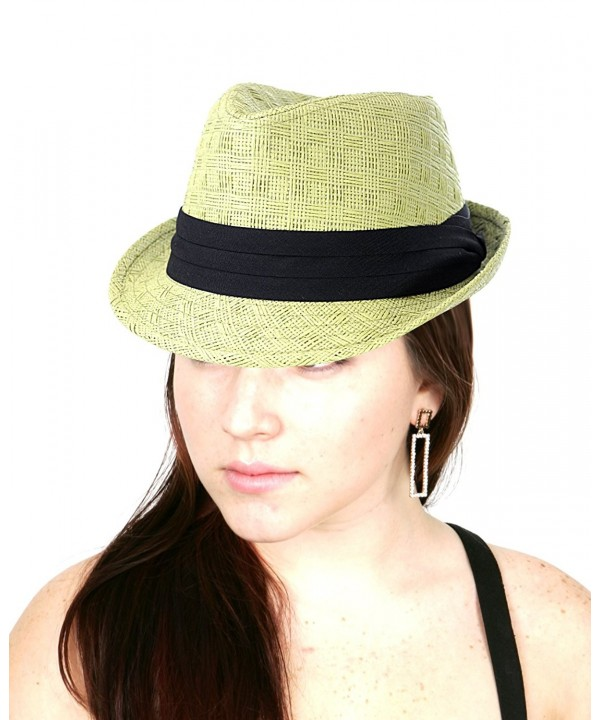 NYFASHION101 Women's Paper Woven Straw Fedora Hat w/ 3 Tier Band - Sage - CD11MML4B0H