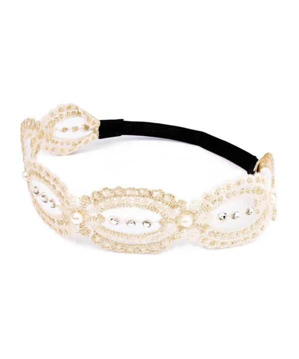 Lace Flower Headband - Beige Chrysanthemum with Gold Line and Pearl for Festival Wedding - Beige-02 - CP1887YIRMI