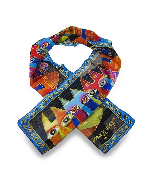 Laurel Burch Silk Womens Fashion Scarves Lbs146 Laurel Burch Tribal Cats Silk Scarf 54 X 11.5 In. Multicolored - CB112G6AOZN