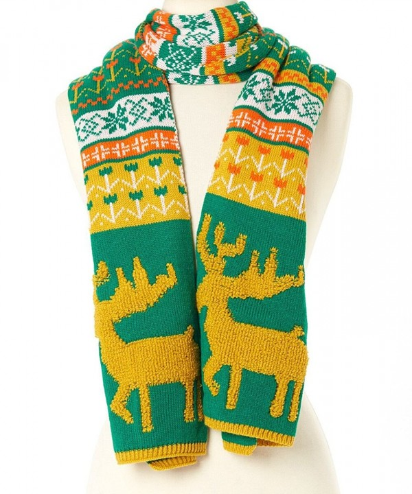 Novadab Woodland Reindeer Knit Scarves - Green - CC187ITDXA7