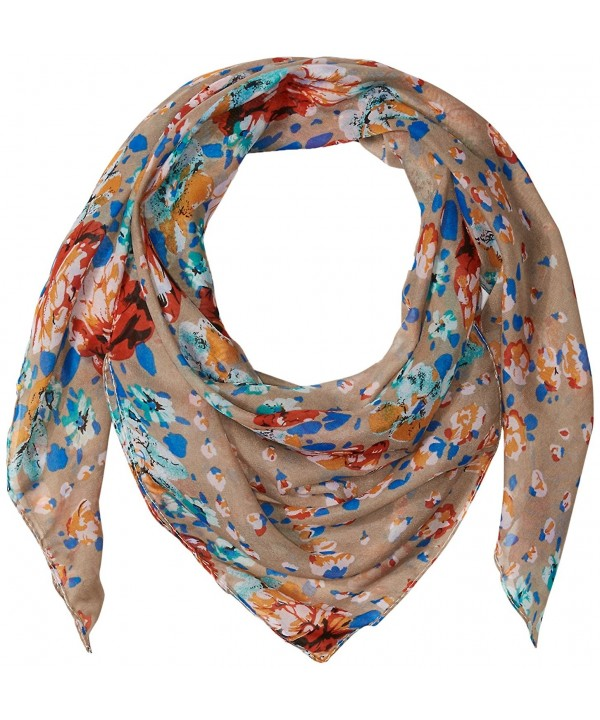 D&Y Women's Floral Buds Lightweight Square Scarf - Taupe - CM12O59WYBL