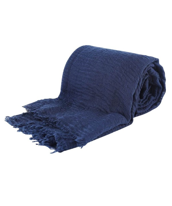 Pashmina Scarf- Vimate Wrinkled Solid Color Pashmina Shawls and Wraps for Women - CO1899NAY34
