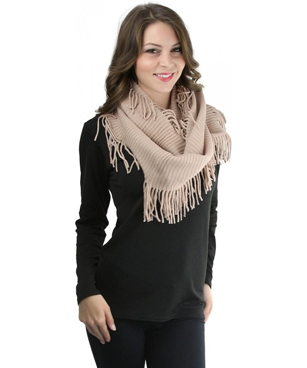 ToBeInStyle Women's Ribbed Fringe Infinity Scarf - Peach - CQ12NUJRM3Q