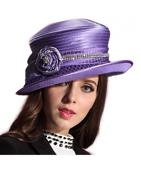 June's Young Women Hat Wide Brim Sparkling Flower Church Hats for Ladies - CC11RUFDZOD