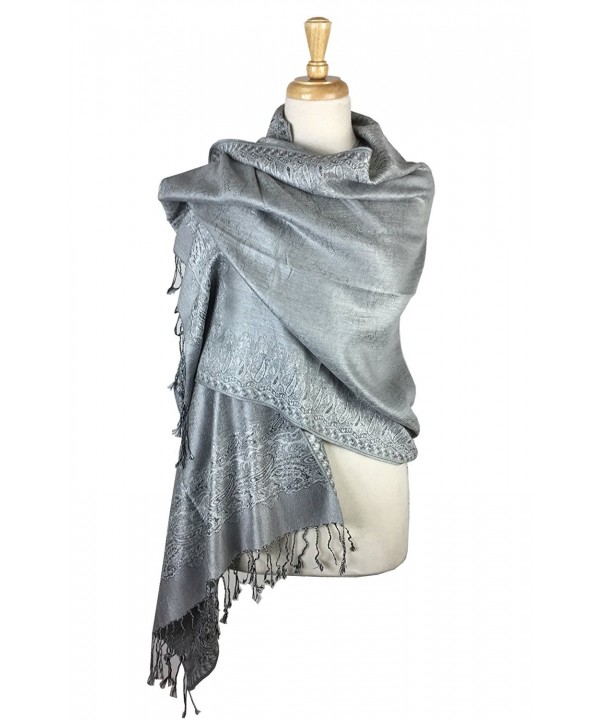 Paskmlna Border Pattern Double Layered Reversible Woven Pashmina Shawl Scarf Wrap Stole - 26 - C117YUGL6LK