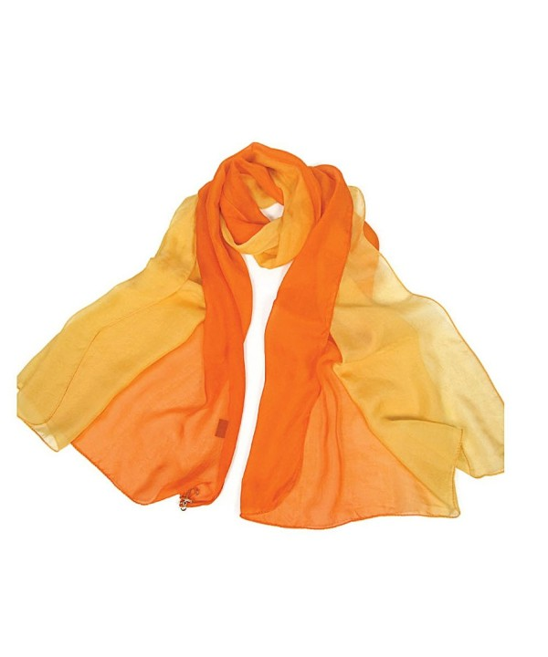 Forever Angel Women's 100% Silk Chiffon Long Scarf - Orange/Yellow - CI128CU3U2V