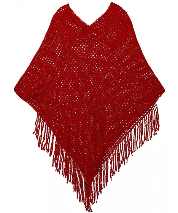 AshopZ Womens Soft Knit Shawl Wrap Fashion Tassel Edge Sweater with Sequins - Red - CY11SEVMF4N