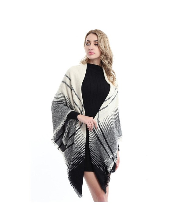 Womens Fashion Blanket Winter Elegant - Beige and Black Plaid - C6186KC3WD4