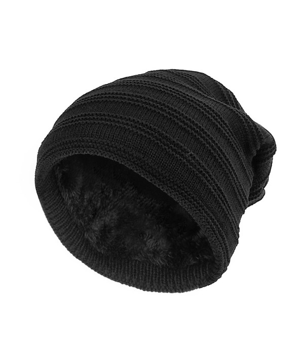 SANDALUP Unisex Trendy Slouchy Beanie Soft Lining Knit Hat Skull Cap - Black - CK187ECT9L6