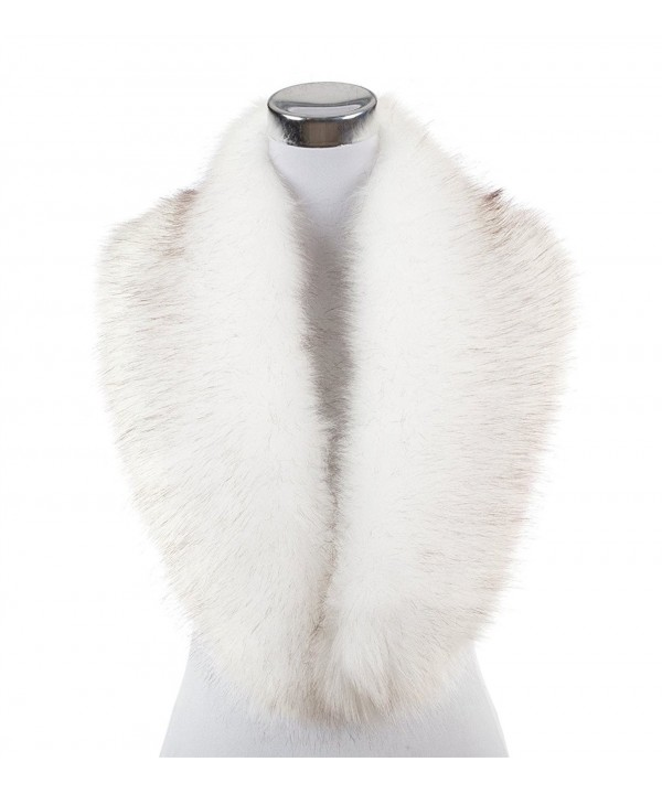 Lucky Leaf Women Winter Faux Fur Scarf Wrap Collar Shrug for Wedding Evening Party - White With Black Apex 1 - CA187T5H8WY