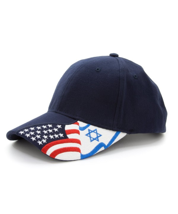 Embroidered USA and Israel flags on 100% Cotton Adjustable Baseball Cap Hat Unisex - Navy Blue - CZ11AR30X4J