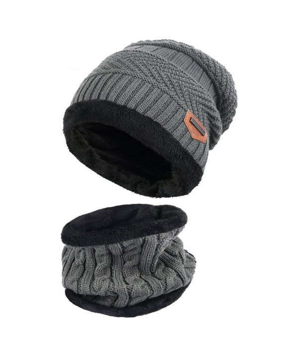 Goodbuy Warm Knitted Hat- Winter Beanie Hat Men with Circle Scarf for Ski- the Best Valentine's Day Gift - Gray - C71867MG5QD
