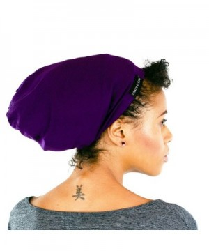 Grace Eleyae [Slap] Satin-Lined Sleep Cap- Women's Tam Hat Beanie - Purple - CX11YAPCTD3