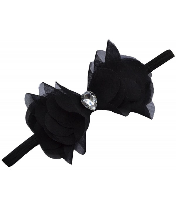 Chiffon Cone Bow Elastic Headband By Funny Girl Designs - Black - CC110958RSZ
