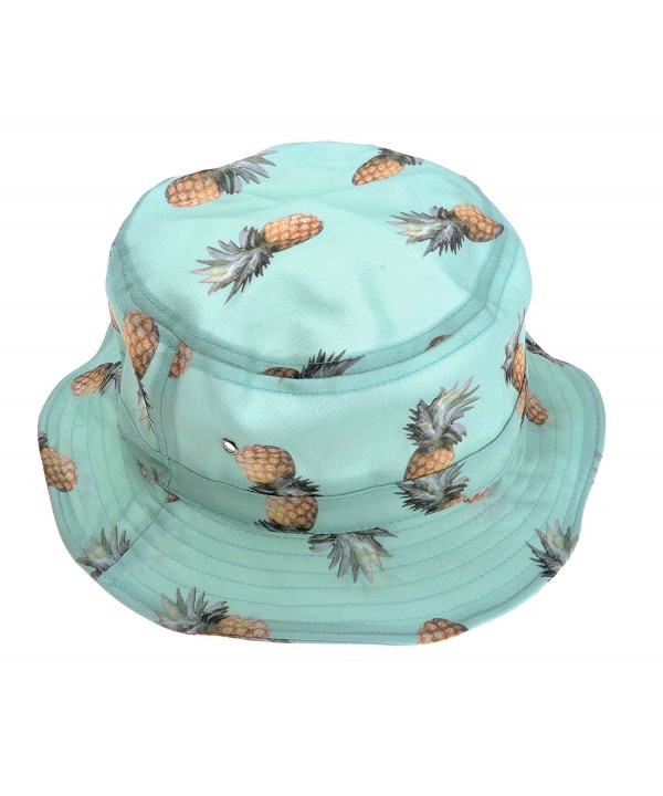 ZLYC Unisex Lovely Cute Funky Passion Fruit Print Fisherman Bucket Hat Outdoor Cap - Pineapple - Blue - CO11XKDR47X