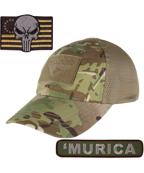 Condor Mesh Tactical Cap Camo with Punisher TWO Morale Patch Bundle - Multicam 'Murica - C71853Q4UES