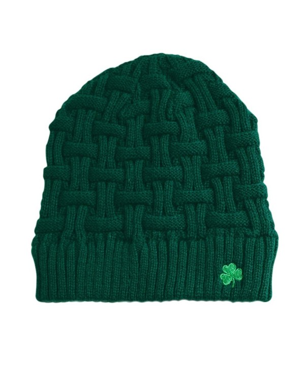 Man Of Aran Acrylic Basket Weave Beanie Hat Olive Green Colour With Green Shamrock - CA12FW7LQEB