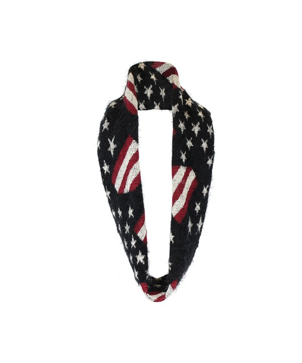 Plush Chenille Infinity Loop Winter Scarf- Connected Ends- American Flag Pattern - Black - CR127RZI0EF